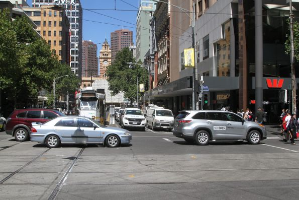 Multi cars block tram Z3.145 on route 57 at the corner of Elizabeth and Collins Street