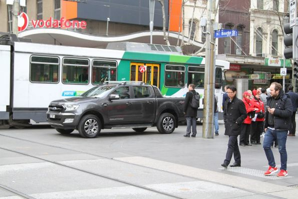 Confused motorist wonders what to do that corner of Swanston and Bourke Street
