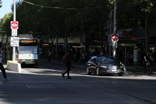 Confused motorist after driving through the tram stop at Swanston and Collins Street