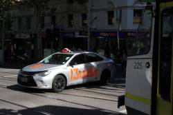 Z3.225 blocked at Swanston and Little Lonsdale Street by a taxi queuing through the intersection