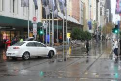 Dumbarse drives down the Bourke Street Mall