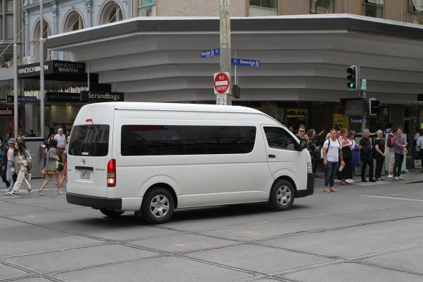 Confused van driver reverses out of the intersection of Swanston and Bourke Street