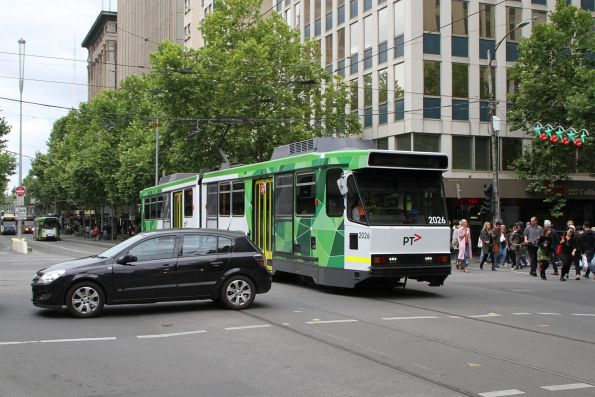 B2.2026 passes a car blocking the tram tracks at Collins and Swanston Street