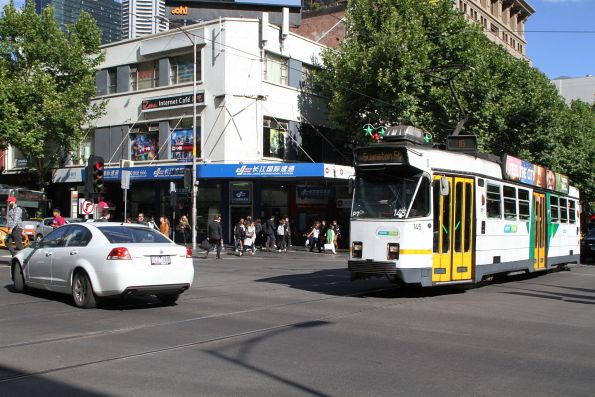 Z3.145 headed north on route 16 blocked by cars queue through the Swanston and Lonsdale Street intersection