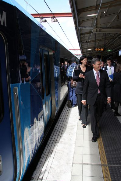John Brumby stridles along the platform