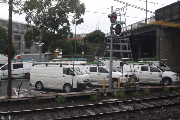 Metro Trains maintenance vans parked at their depot in North Melbourne