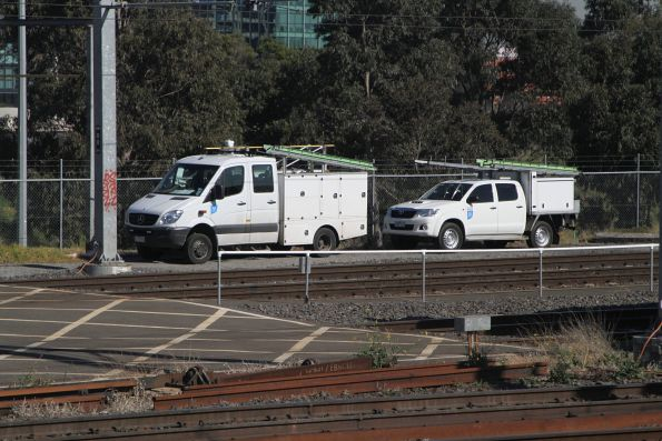 Metro Trains maintenance trucks parked at Franklin Street