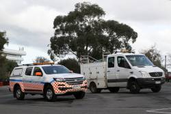 Metro Trains incident response ute and truck at Flemington Racecourse