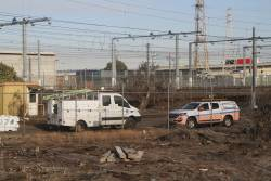 Metro Trains signal fitters truck between jobs