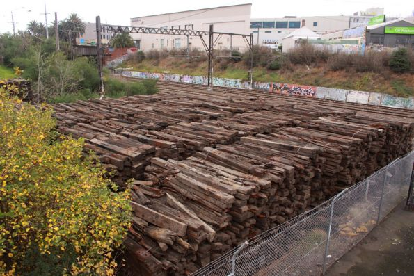 Piles of timber sleepers at Malvern, removed from the track between South Yarra and Caulfield