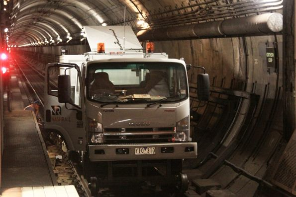 Trackwork at the Parliament end of the Northern Loop tunnel at Melbourne Central