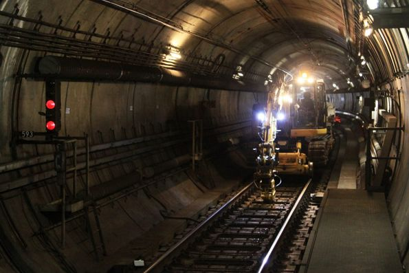 Rerailing work in the Northern Loop between Parliament and Melbourne Central stations