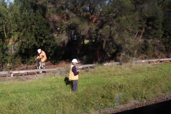 Fencing works along the south side of the railway at Oakleigh
