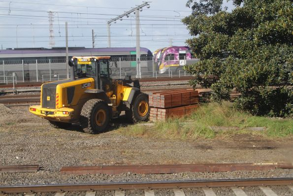 Brand new timber sleepers ready to be installed at the down end of North Melbourne station