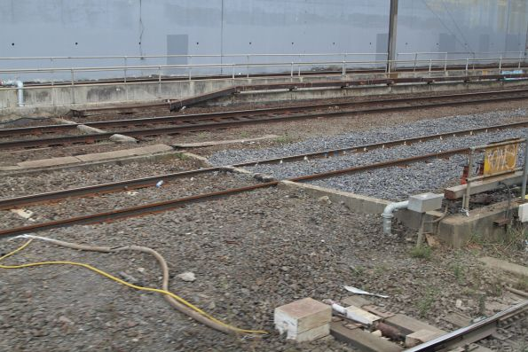 Ad hoc rail and sleeper replacement beside the City Loop portals at North Melbourne