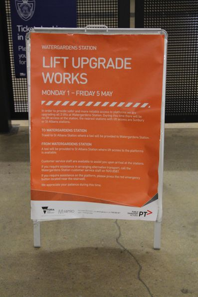 'Lift upgrade works at Watergardens' poster