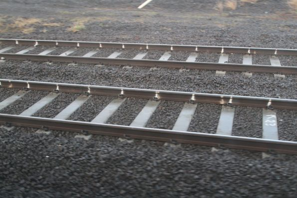 Concrete sleepers replace concrete at the down end of North Melbourne