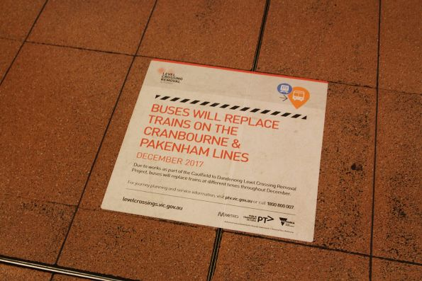 'Buses will replace trains' notice at Flagstaff station