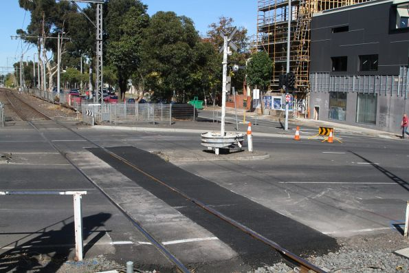 Replaced section of rail across the Buckley Street level crossing at Essendon