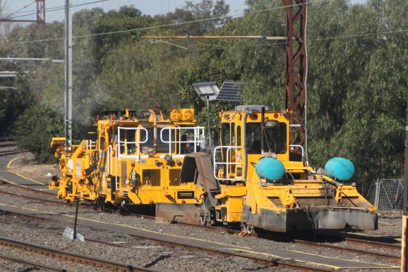 Ballast tamper and regulator stabled in sidings at Caulfield