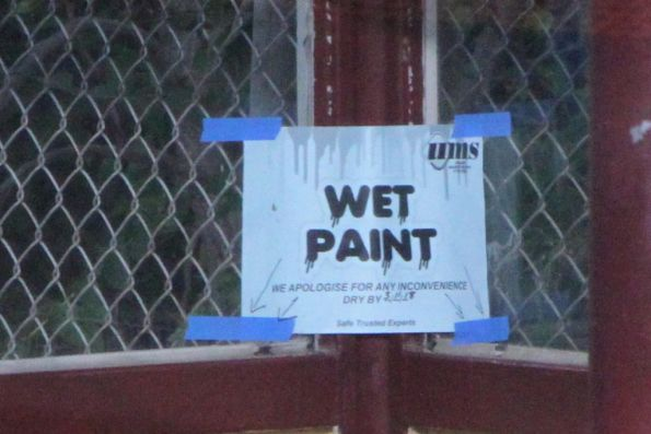 'Wet paint' sign at Hawthorn station