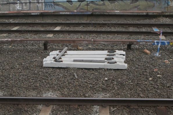 New concrete sleepers awaiting installation at the down end of Camberwell