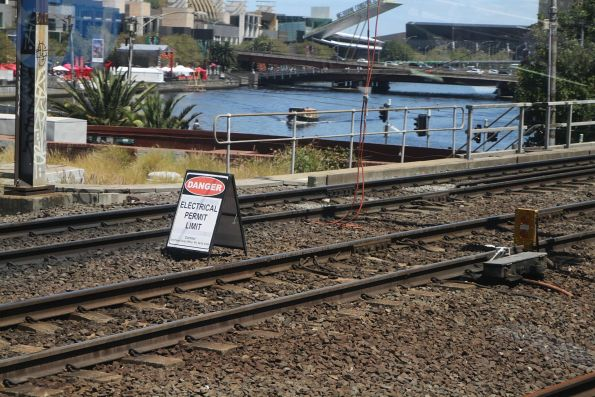 'Electrical permit limit' board at the west end of Flinders Street Station