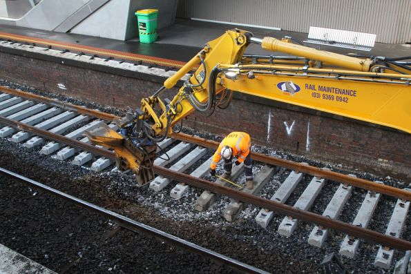 Moving sleepers into position along the relayed track at North Melbourne platform 1
