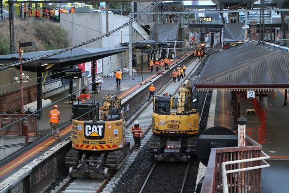 Relaying the track at North Melbourne platform 1