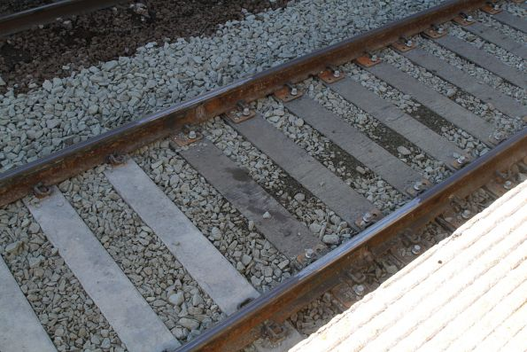 Duratrack composite plastic sleepers in the Punt Road bridge deck at Richmond platform 2