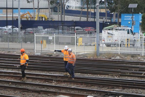 Metro Trains staff at work on the tracks at Richmond station