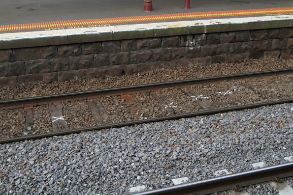 Timber sleepers marked for replacement at North Melbourne platform 5