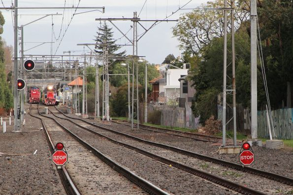 'STOP' boards on the Flemington Racecourse line