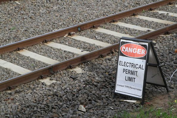 'Electrical permit limit' sign at Newmarket on the Flemington Racecourse line