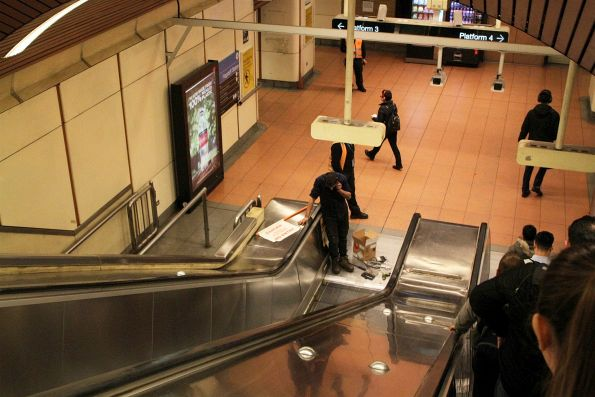 Emergency repairs to an escalator at Flagstaff station