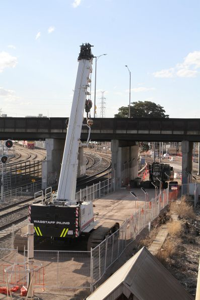 Piling works for the West Gate Tunnel approach ramps at Dynon Road at North Melbourne station