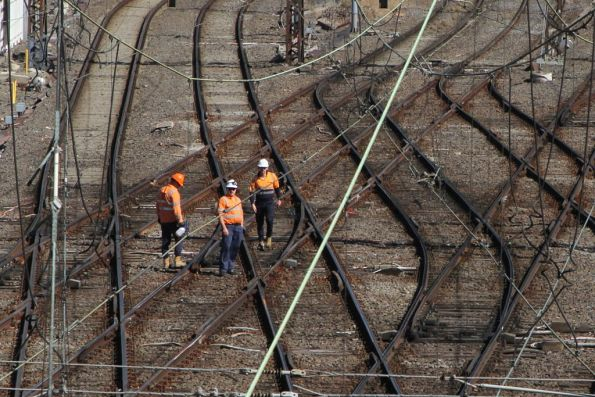 Metro Trains track gang at work at Richmond Junction