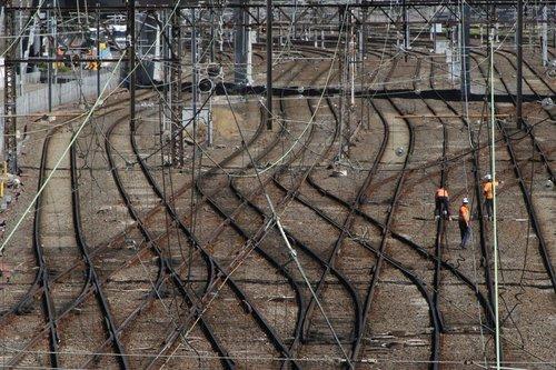 Metro Trains track gang at work at Richmond Junction
