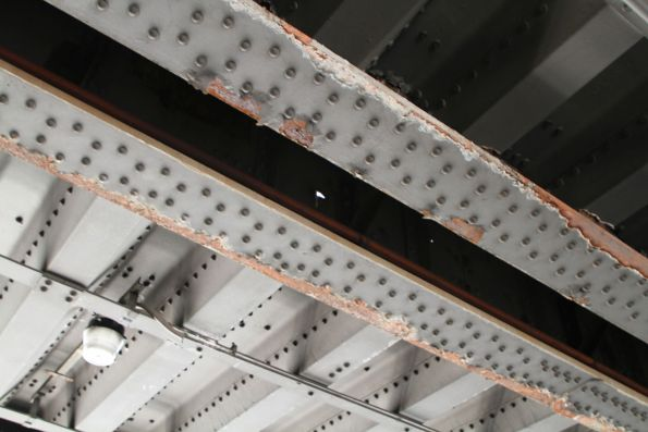 Section of the Flinders Street Viaduct in need of repainting