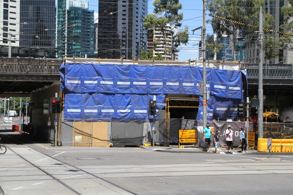 Road closed to allow repainting of the Flinders Street Viaduct at Flinders and Market Street