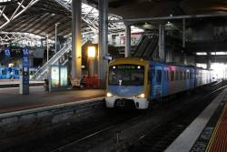 3-car Siemens train passes through Southern Cross with a driver training run