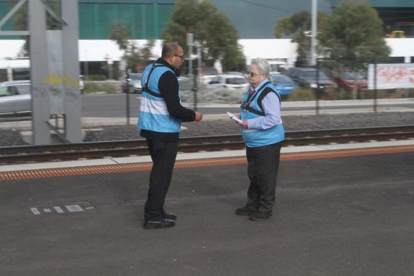 Metro Trains customer service staff with body mounted cameras completing training at West Footscray station