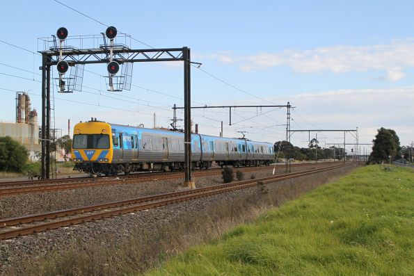 Alstom Comeng 680M heads through Altona Junction on a down driver training run