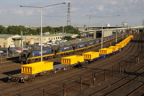 CFCLA flat wagons at Melbourne Yard arrivals, fitted with new spoil containers for MTM suburban works trains