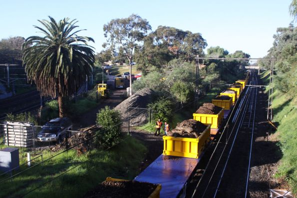 Loaded spoil train at South Yarra