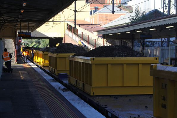 Loaded spoil train at South Yarra platform 2