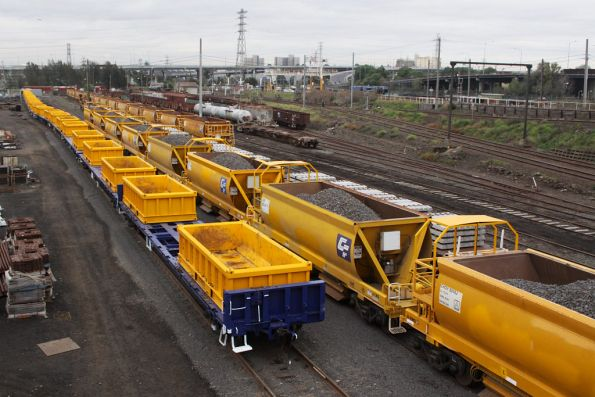 All three Metro works trains in the Wagon Storage Yard - L to R: spoil, ballast and concrete sleeper / rail