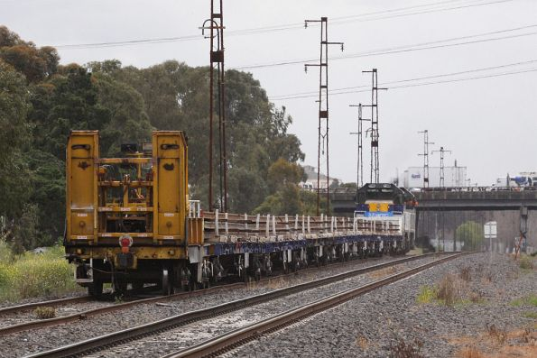 Rail threader wagon bringing up the rear of the consist