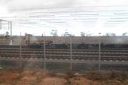 Rail train stabled in the sidings at Calder Park