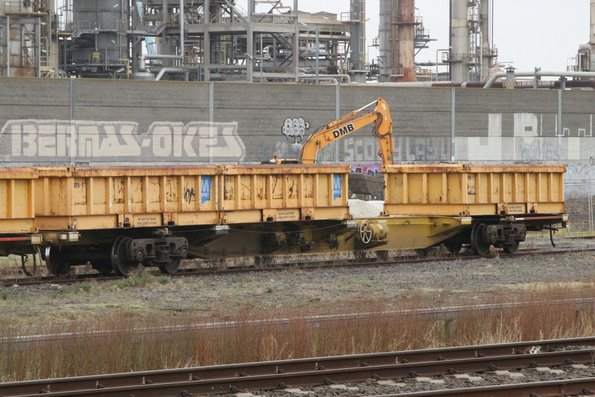 SQEF container wagons loaded with Metro Trains spoil containers at the Metro Infrastructure Siding at Paisley